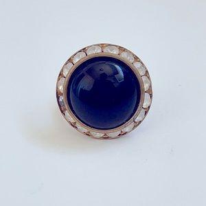 Vintage Black Rhinestone Gold Ring